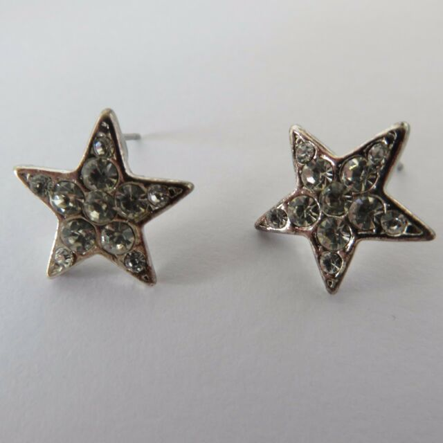 SPARKLY SILVER COLOURED DIAMANTE STAR STUD EARRINGS 1.5 cm new gift pouch