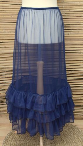 *LAGENLOOK*BEAUTIFUL MAXI PETTICOAT//UNDERSKIRT//DRESS*NAVY BLUE*WAIST UP TO 50/""