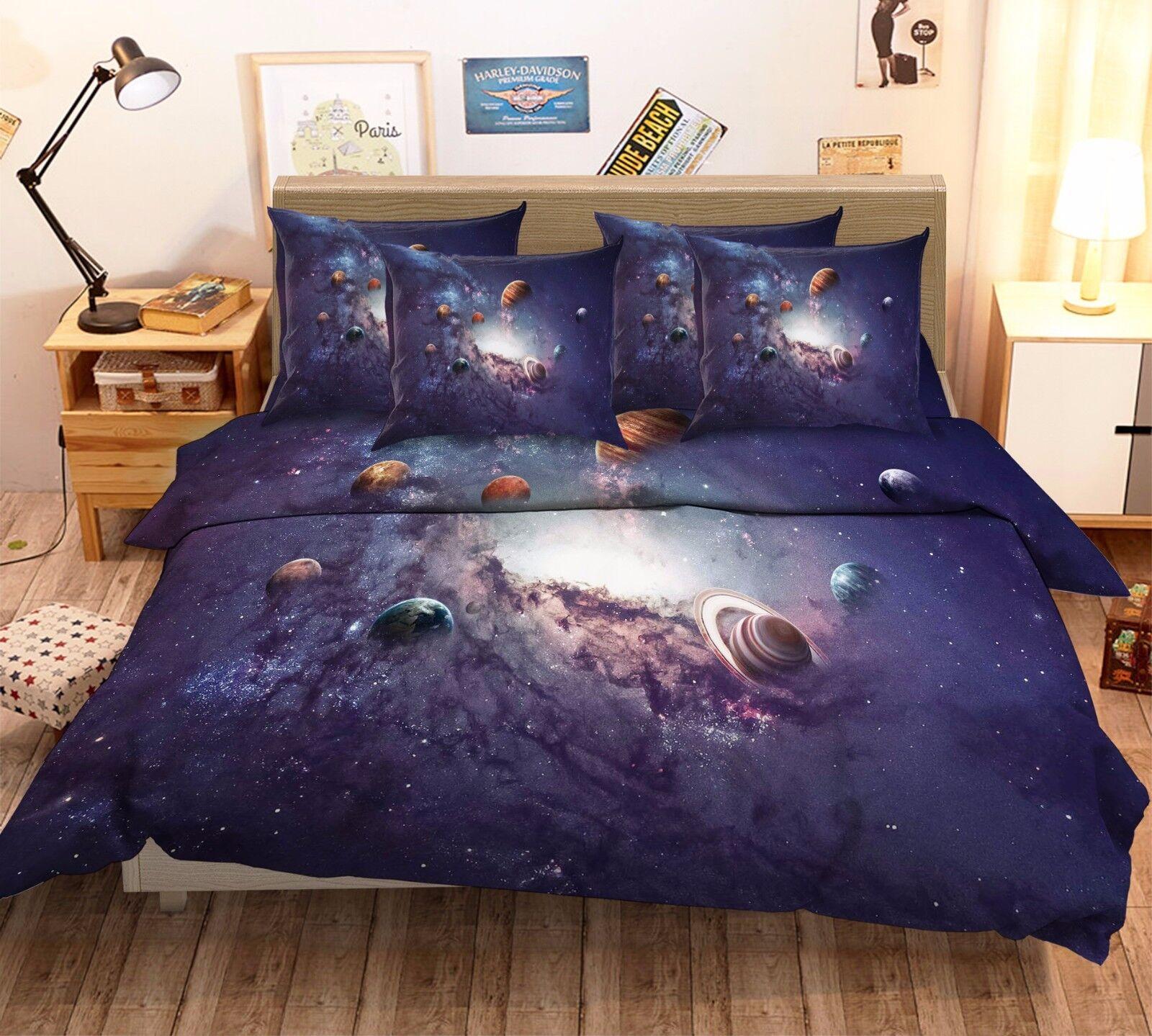 3D Universe Planet 7 Bed Pillowcases Quilt Duvet Cover Set Single Queen AU Lemon