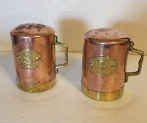 Vintage-Metal-Copper-and-Brass-Salt-amp-Pepper-Shakers-Shaker-Set-Table-Decor