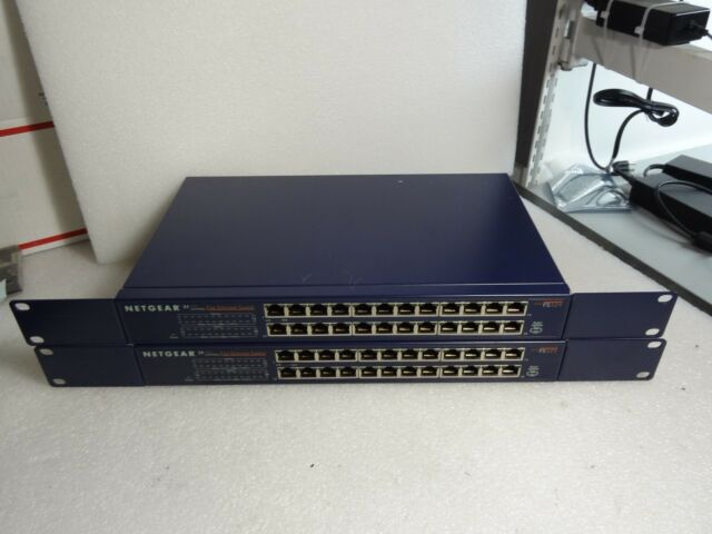 Netgear FS-524 24 Port 10/100 Mbps Fast Internet Switch (Lot of 2) #TQ12