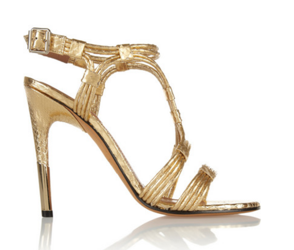 GIVENCHY GIVENCHY GIVENCHY Metallic gold Python stiletto strappy sandal shoes  SZ 41 57516a