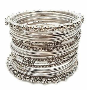 Indian-Fashion-Traditional-Bollywood-Silver-Oxidized-Metal-Party-Bracelet-Bangle