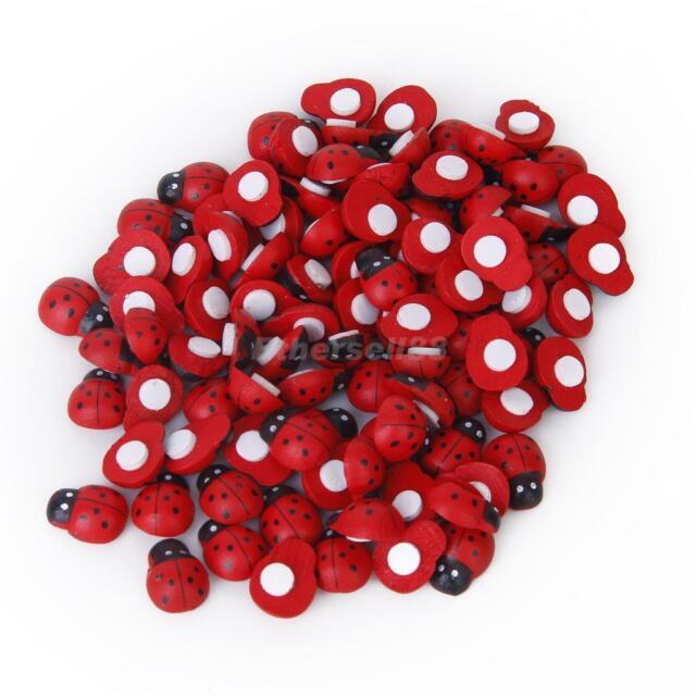 100± Cute Painted Wooden Ladybird Ladybug Sticker Adhesive Back Kids DIY Craft