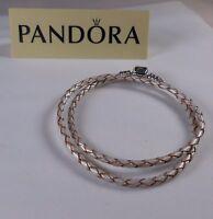 Pandora 590705cpl-d1 13.8 Double Strand Champagne Leather Bracelet Sz S
