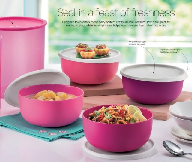 New Tupperware Pretty In Pink Blossom Bowl Set (4) 1.3L each