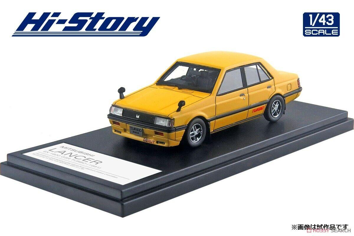 1/43 Hi-Story MITSUBISHI LANCER EX 1800 GSR TURBO (1981) Yellow HS234YE
