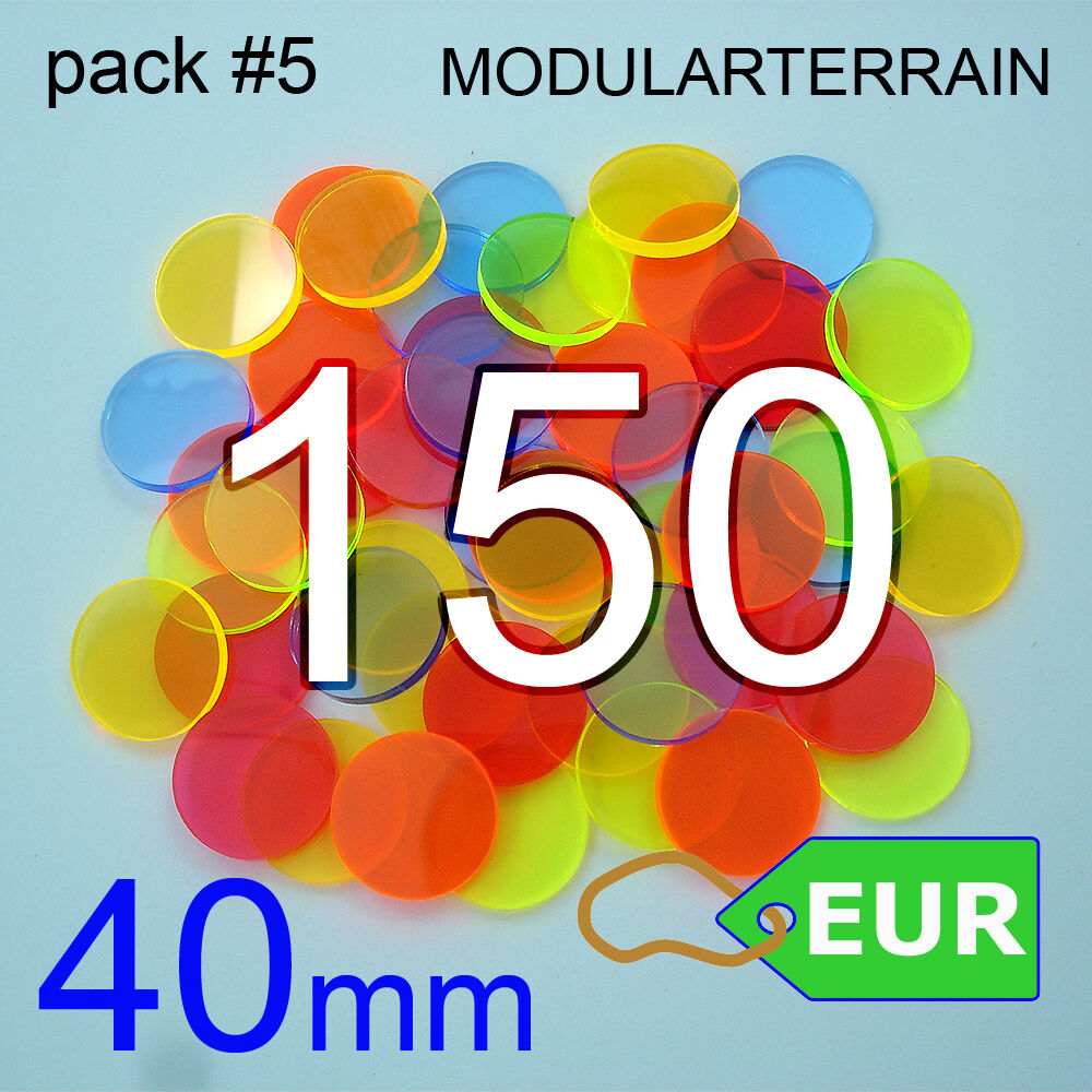 150x BASE CIRCULAR METACRILATO 40mm FLUOR ROUND CLEAR ACRYLIC SOCLE WAR HAMMER