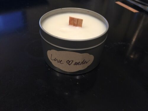 wood wick candle beeswax candle 8oz tin candle label custom message free ship