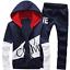 Black-Men-Sweater-Casual-Tracksuit-Sport-Suit-Jogging-Athletic-Jacket-Pants thumbnail 2