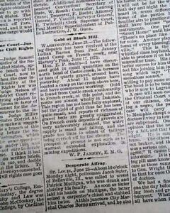 Details about BLACK HILLS Castle Creek South Dakota GOLD Discovery 1875  Memphis TN Newspaper