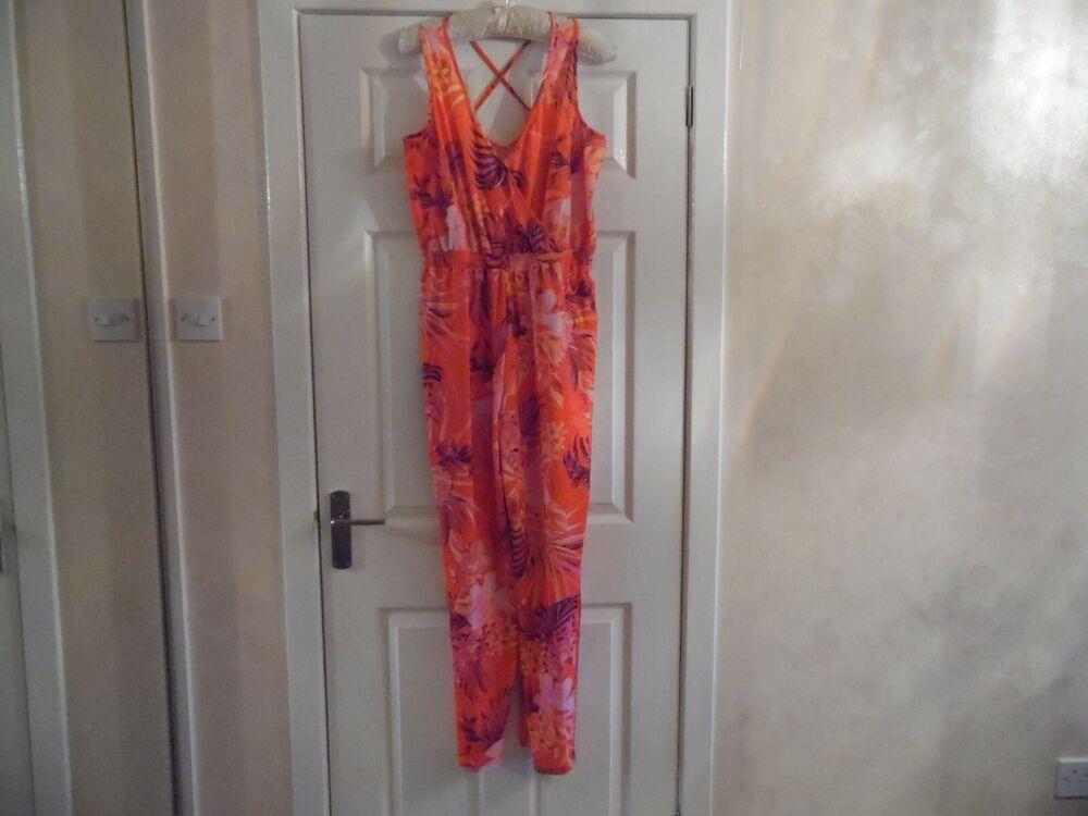 ** Nouveau ** Lipsy Sunshop Orange Floral Combinaison Taille 10-bnwt