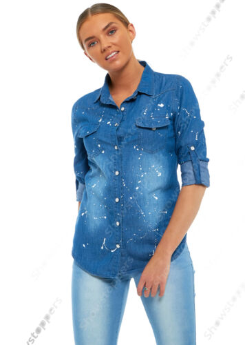 NEW Womens Denim Shirt Ladies Paint Blue Classic Fitted Shirts Size 8 10 12 14