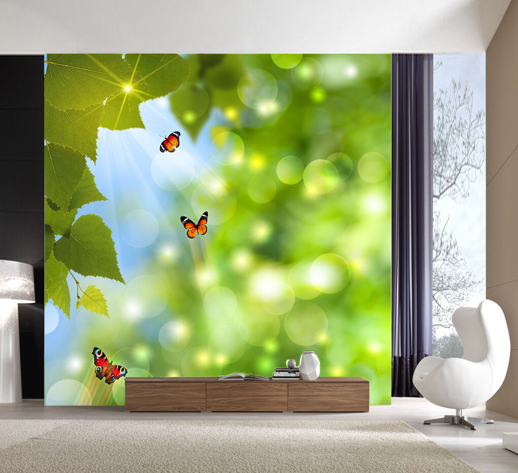 3D Sunny Butterfly Leaves 732 Wall Paper Wall Print Decal Wall AJ WALLPAPER CA