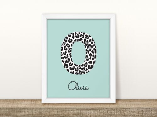 Leopard Initial Mint /& White Name - Personalised Nursery Print Baby Room