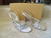 Unisa Champagne Crystal Strappy Evening Shoes Sandals 3.5 Heels 6.5b