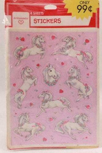 4 Sheets Vintage Hallmark Valentine Horse Sealed Sticker Package