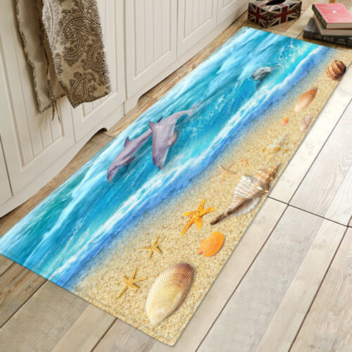 Pebbles Wooden Beach Rugs Kitchen Soft Non-slip Carpets Bathroom Mats Decor