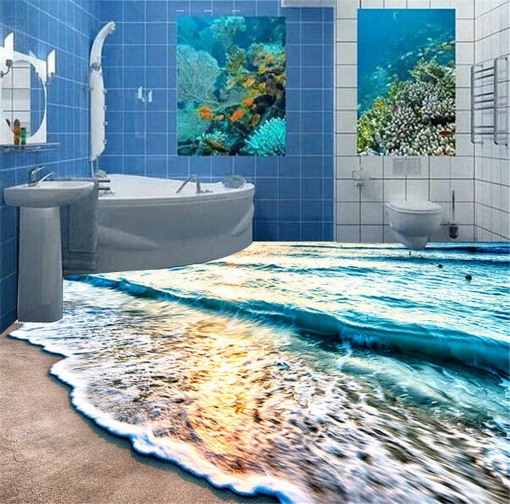Glittering Sea  3D Floor Mural Photo Flooring Wallpaper Home Printing Decoration