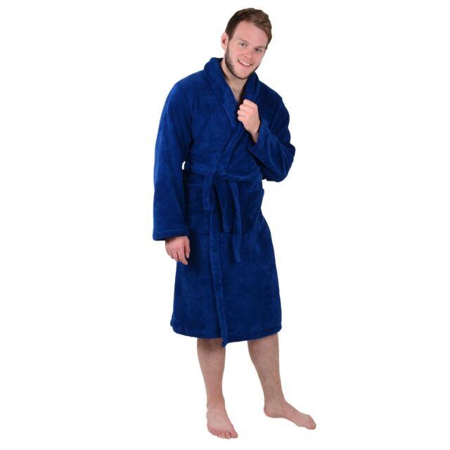 57b056d336 Mens Blue Coral Fleece Tie Belt Bath Robe Dressing Gown Housecoat ...
