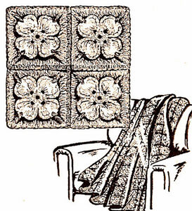 Vintage-Crochet-PATTERN-to-make-Afghan-Couch-Throw-Flower-Petals-Blanket-Dogwood