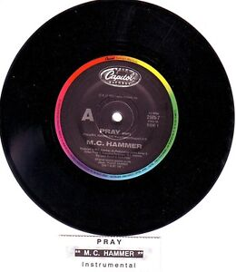 M-C-HAMMER-Pray-MC-7-45-rpm-vinyl-record-juke-box-title-strip