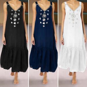 Womens-Floral-Sleeveless-Ladies-Summer-Beach-Loose-Maxi-Long-Sundress-Cami-Dress