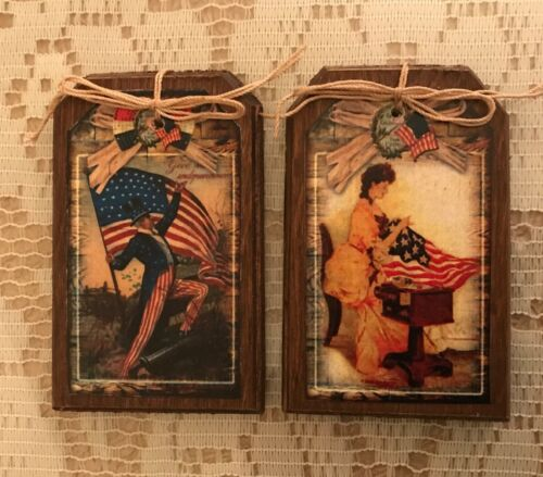 5 HANDCRAFTED Wooden Patriotic Ornaments//USA Hang Tags//Americana GiftTags SET071