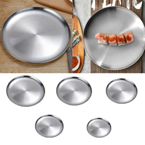 Stainless Steel Round Serving Tray Platter Bar Restaurant Tray Tea Tray 14cm
