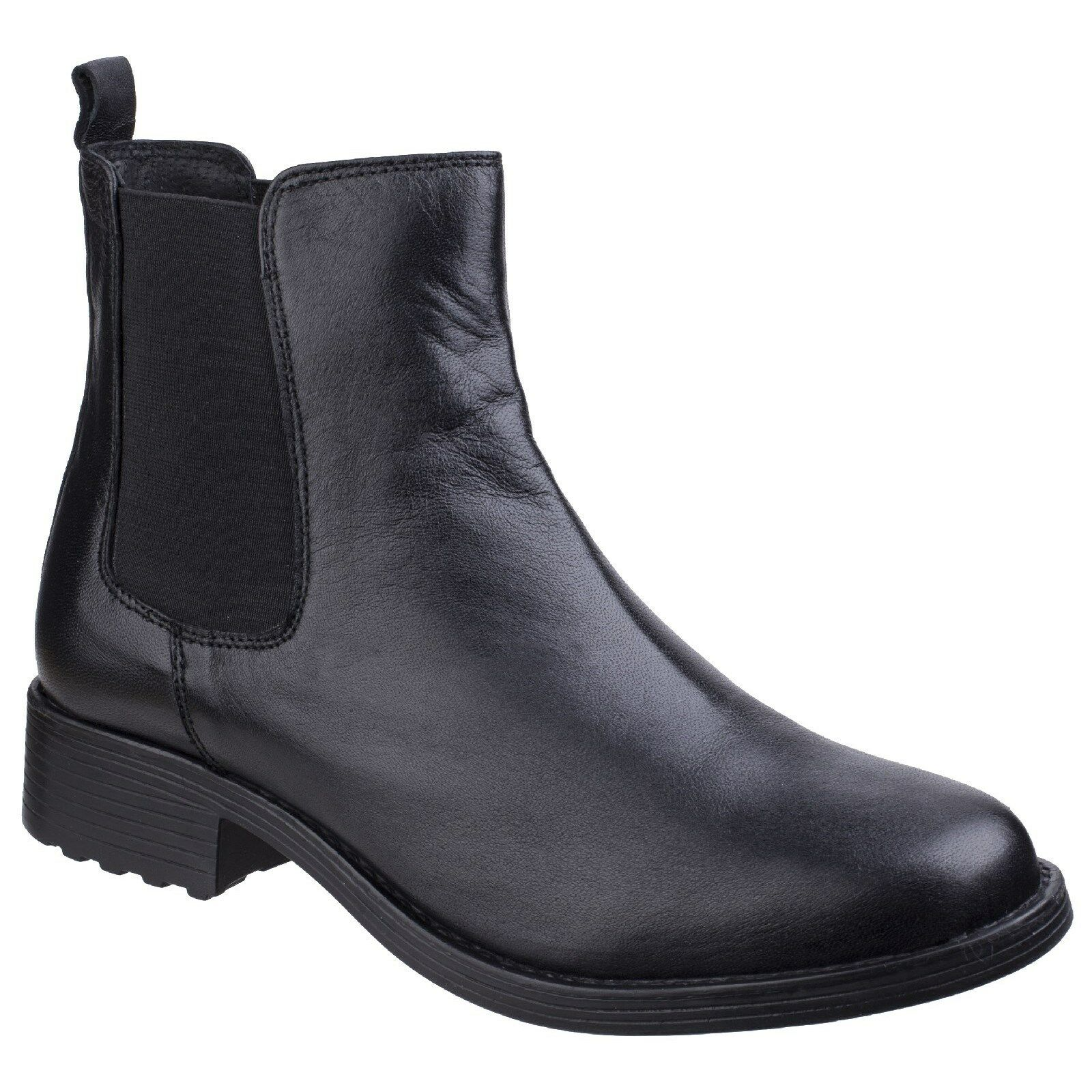 Fleet & Foster Cambridge Leather Chelsea Ankle Pull On Black Boots Womens Ladies