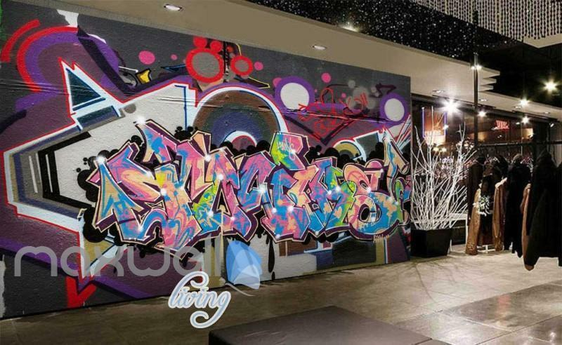 3D Graffiti Abstract World Letters Street Art Wall Murals Wallpaper Decals Print