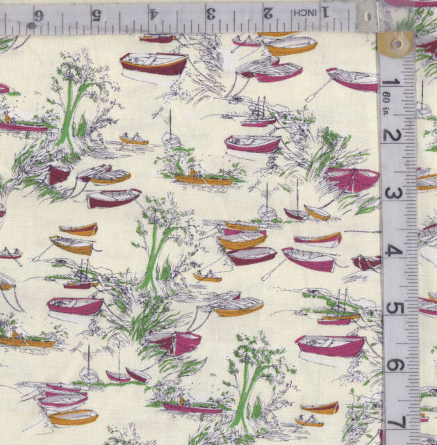 PATCHWORK/CRAFT FABRIC RIVERBANK ROWING BOATS  BY INPRINT@MAKOWER 100% COTTON