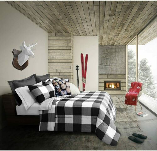 Black White Buffalo Plaid Large Checked 3 pc Comforter Set Full Queen Bedding