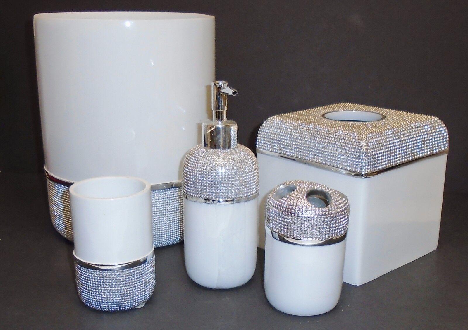 Neu 5 Teile Set Weiß + Metallisch Silber Harz Seifenspender+Becher+Gewebe+