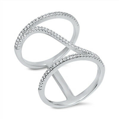 Double Band Cubic Zirconia  .925 Sterling Silver Ring Sizes 5-10