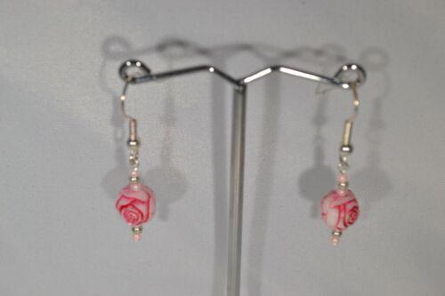 Pink Rosebud Bead Drop Earrings Pierced Hand Made