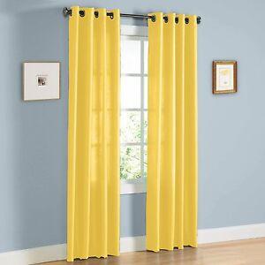 2 Panel Bright Yellow Window Faux Silk 8 Grommet Curtain