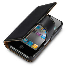 Premium PU Leather Wallet Case for Apple iPhone 4/4S - Black / Tan
