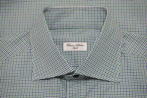 Cesare Attolini Napoli Blue Lime Green Plaid Spread Collar Dress Shirt Sz 17
