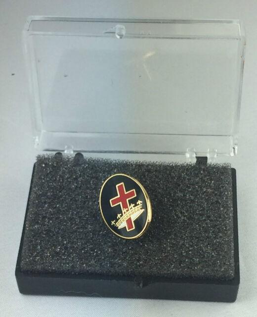 Masonic Knights Templar Cross & Crown Enamel Lapel Pin Badge In Gift Box