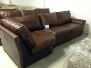 Ottery Barn Pearce Couch Sofa Sectional Whiskey Leather