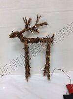 Pottery Barn Lit Light Up Natural Twig Fawn Deer Christmas Holiday Decor Large