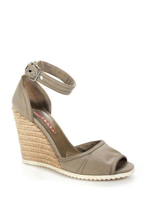 Origi. Prada Sport canvas orsay botín-Strap-Wedges sandals