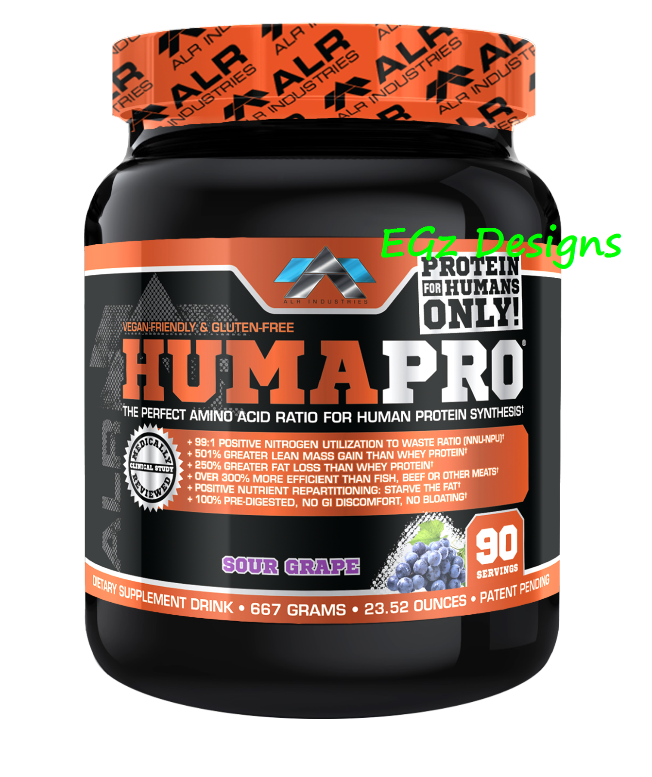 HUMAPRO by by HUMAPRO ALR INDUSTRIES  AMINO ACID PROTEIN POWDER 667G - 90 SERVINGS aee902