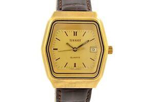 Vintage-Tissot-Classique-Quartz-Plaque-or-Montre-Hommes-1175