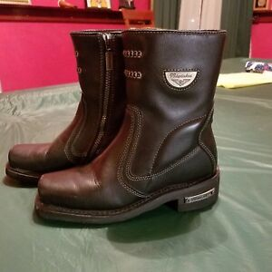 993e8db18ab Details about Milwaukee Womens Shifter Leather Motorcycle Boots Size 6.5