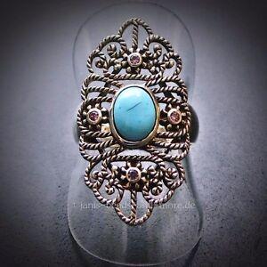 Eleganter-Antik-Style-Oval-Cabochon-Tuerkis-Amethyst-Ring-925-Silber-17-8-mm