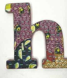 """Anthropologie Letter """"h"""" Monogram Initial Fabric Covered Quilted Wall Art Boho"""