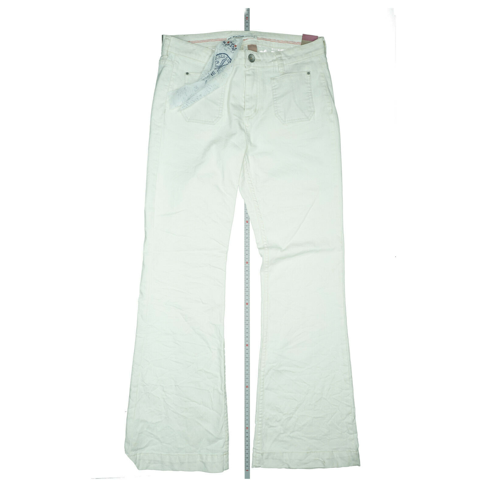 NILE Atelier Damen stretch Bootcut Schlag Flare Jeans Hose L W32 L32 weiß creme
