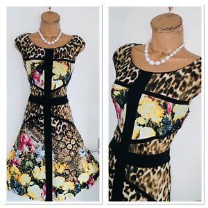 Frank Lyman Floral Animal Print For And Flare Jersey Dress Uk Size 10 Ebay